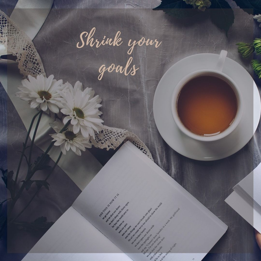 """flowers on lace background with tea cup. Text says """"shrink your goals"""""""